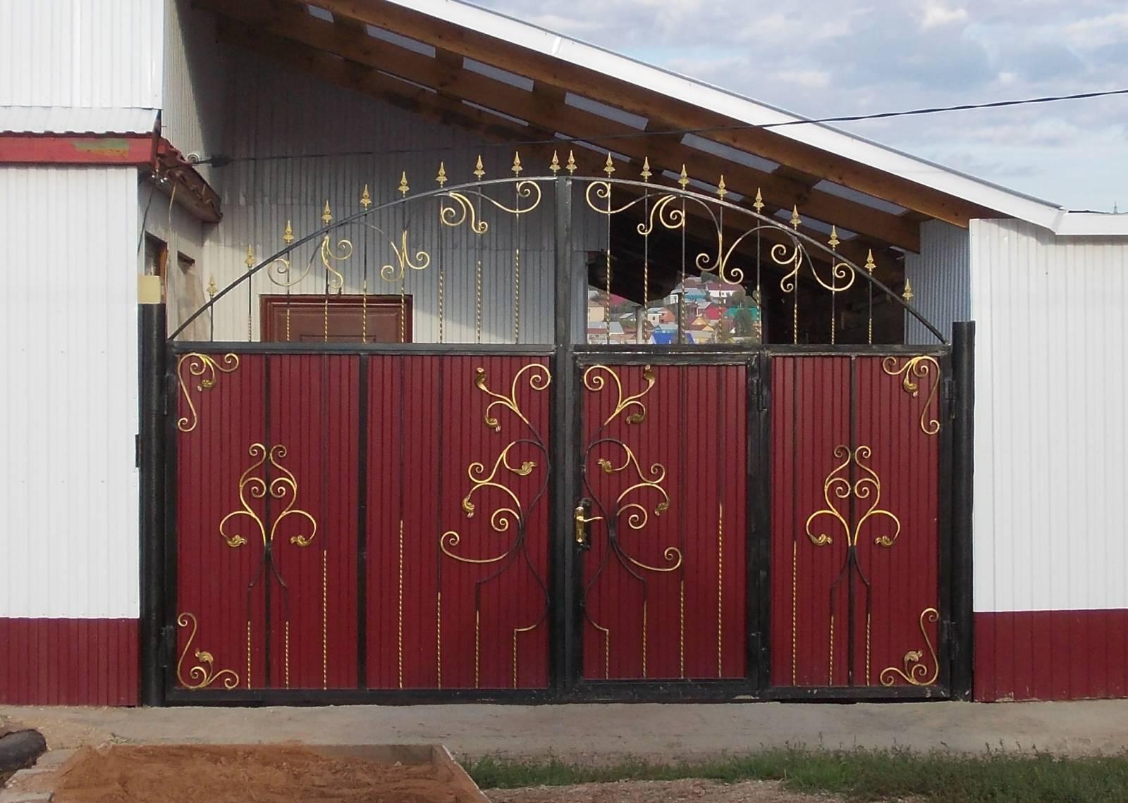 Ворота с врезной калиткой фото 8